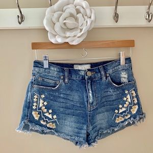 Free People shorts frayed distressed embroidered